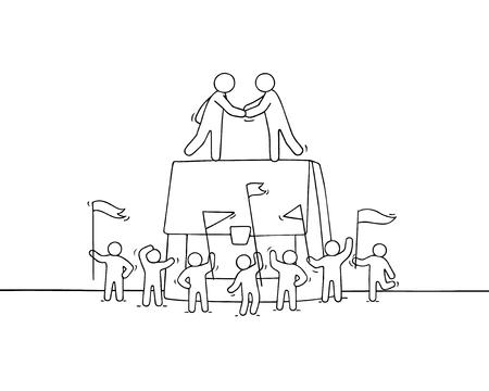 Cartoon kleine mensen uit het bedrijfsleven met grote zaak. Doodle schattige miniatuurscène van werknemers over samenwerking. Hand getrokken vectorillustratie. Stockfoto - 96182870
