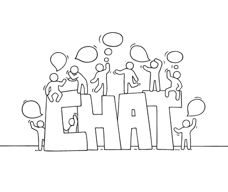 Sketch of working little people with speech bubbles. Doodle cute miniature scene with big word Chat. Hand drawn cartoon vector illustration for social media and business design.