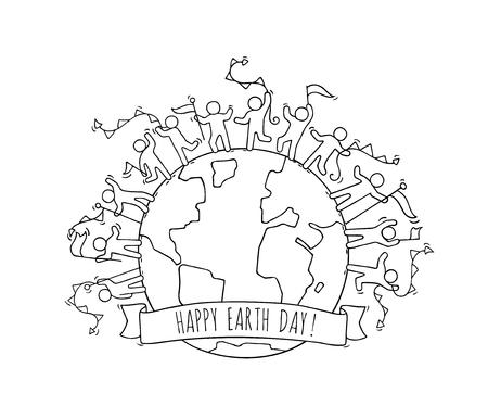 cartoon joyeux personnes heureux avec des guirlandes et des drapeaux autour du monde