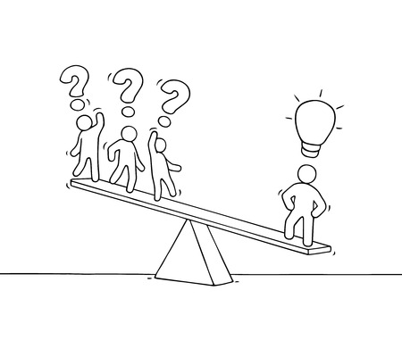 Sketch of working little people on the scale. Doodle cute miniature scene about individuality. Hand drawn cartoon vector illustration for business design.