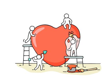 Schets van werkende kleine mensen met groot liefdeteken. Vector Illustratie