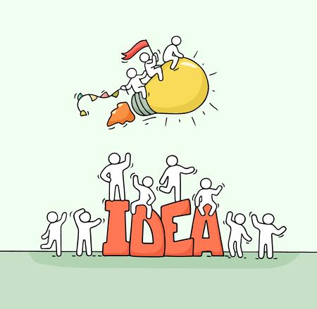 Croquis de travail de petites personnes avec lampe volante et grande idée de mot. Doodle scène miniature mignonne de travailleurs créatifs. Illustration de vecteur de dessin animé dessiné à la main pour la conception de l'entreprise.