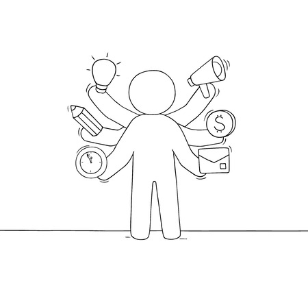 Cartoon businessman with many hands. Doodle cute scene about multitasking and workload. Hand drawn vector illustration for business design. 向量圖像