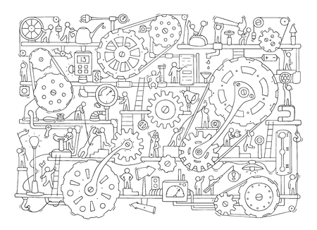 Sketch of people teamwork, gears, production.