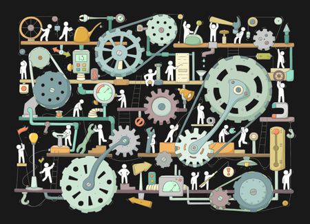 Sketch of people teamwork, gears, production. 일러스트