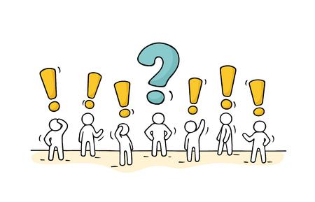 Boceto: multitud de personas trabajadoras con signo de pregunta y signo de exclamación. Doodle lindo trabajo en equipo en miniatura encontrar la decisión correcta. Dibujado a mano ilustración vectorial de dibujos animados para el diseño de negocios.