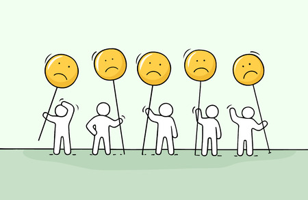 Crowd of working little people with sad sings. Illustration