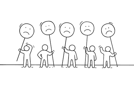 Crowd of working little people with sad sings. Ilustração