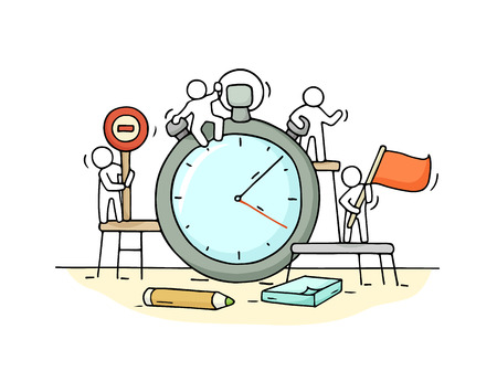 Sketch of stopwatch with working little people. Archivio Fotografico - 96448586