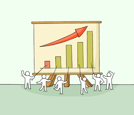 Cartoon working little people with big board. Doodle cute miniature scene about growth and success. Hand drawn vector illustration for business design and infographic.