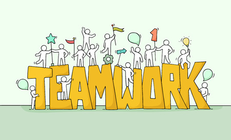 Skizze des Arbeitens von kleinen Leuten mit großer Wort Teamwork. Vektorgrafik