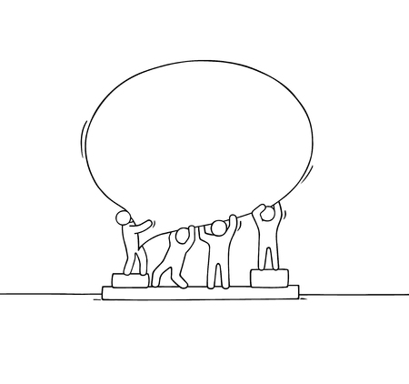 Crowd of working little people with speech bubble. Doodle cute miniature scene with empty message. Hand drawn cartoon vector illustration for internet design.