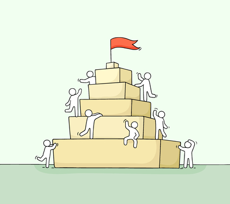 Sketch of working little people with piramide. Doodle cute miniature scene of workers about leadership. Hand drawn cartoon vector illustration for business design and infographic. Stock Illustratie
