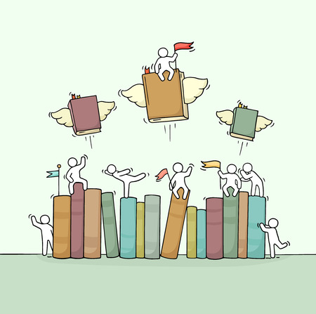 Croquis de travail de petites personnes avec étagère à livres. Doodle scène miniature mignonne de travailleurs et de livres volants. Illustration vectorielle de dessin animé dessiné à la main pour la conception de l'éducation.