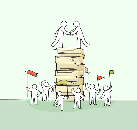 Cartoon little business people with big stack of paper. Doodle cute miniature scene of workers about cooperation. Hand drawn vector illustration.