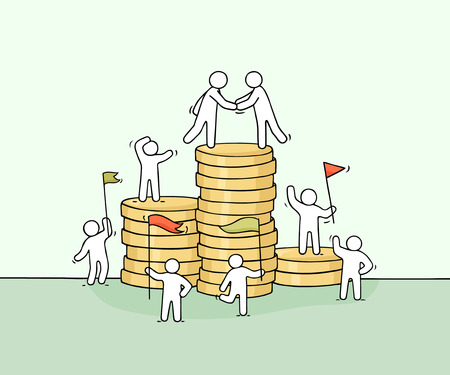 Cartoon little business people with stack of coins. Doodle cute miniature scene of workers about cooperation. Hand drawn vector illustration for business and finance design. Illustration