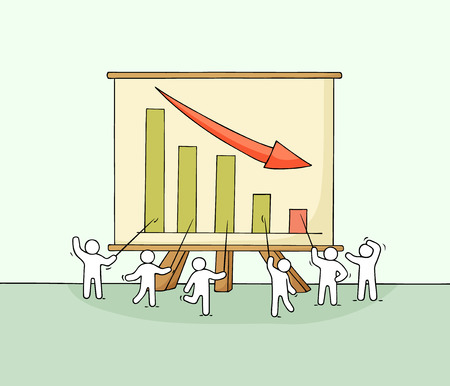 Cartoon working little people with big board. Doodle cute miniature scene about failure. Hand drawn vector illustration for business design and infographic.