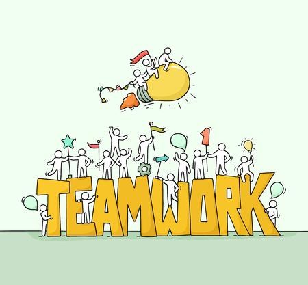 Skizze des Arbeitens von kleinen Leuten mit großer Wort Teamwork. Kritzeln Sie niedliche Miniaturszene der Arbeitskräfte und der fliegenden Lampenidee. Hand gezeichnete Karikaturvektorillustration für Geschäftsdesign.