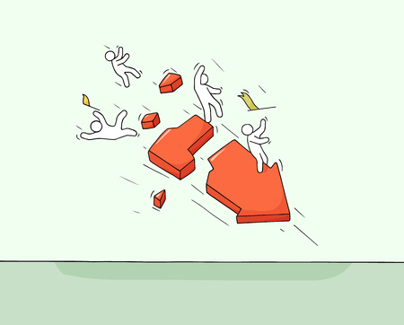 Skizze von kleinen Leuten mit gebrochenem Pfeil. Doodle süße Miniaturszene von Arbeitern über Versagen. Handgezeichnete Cartoon-Vektor-Illustration für Geschäfts- und Finanzdesign.