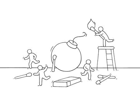 Cartoon little people run away from bomb. Doodle cute miniature scene of workers about dangerous. Hand drawn vector illustration for business design. Illustration