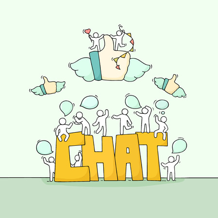 Sketch of little people with speech bubbles, fly likes. Doodle cute miniature scene with big word Chat. Hand drawn cartoon vector illustration for social media and business design.