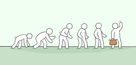 Croquis de petites personnes qui travaillent. Doodle scène miniature mignonne sur l'évolution. Illustration vectorielle dessinés à la main pour la conception d'entreprise. Vecteurs
