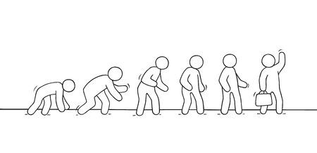 Schets van werkende kleine mensen. Doodle schattige miniatuurscène over evolutie. Hand getekend cartoon vectorillustratie voor zakelijke ontwerp.