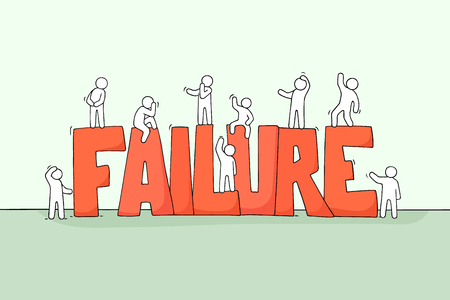 Bosquejo de gente pequeña trabajadora con gran palabra fracaso. Doodle linda escena en miniatura de trabajadores tristes. Ilustración de vector de dibujos animados dibujados a mano para diseño de negocios.
