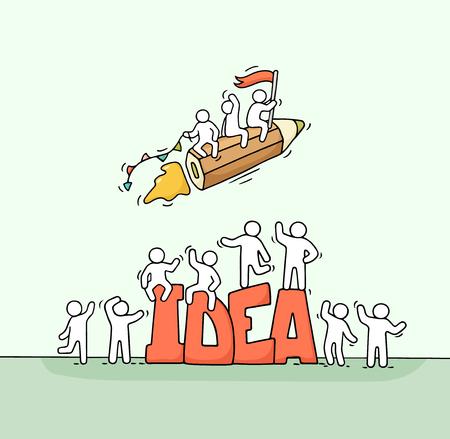 Boceto de gente pequeña trabajadora con lápiz volador y gran palabra Idea. Doodle linda escena en miniatura de trabajadores creativos. Ilustración de vector de dibujos animados dibujados a mano para diseño de negocios.