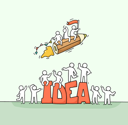 Croquis de petites personnes qui travaillent avec un crayon volant et une grande idée de mot. Doodle scène miniature mignonne de travailleurs créatifs. Illustration vectorielle de dessin animé dessinés à la main pour la conception d'entreprise.