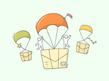 Doodle süße Miniaturszene von Arbeitern mit fliegenden Buchstaben. Skizzenkonzept über Lieferung und Post. Handgezeichnete Cartoon-Vektor-Illustration für Business-Design.