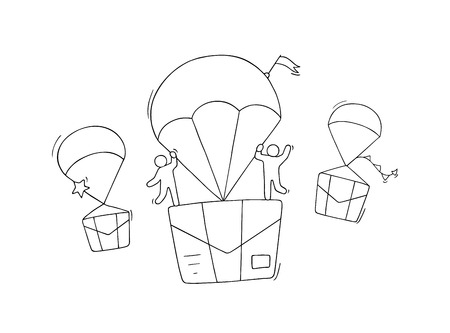 Doodle cute miniature scene of workers with flying letters. Sketch concept about delivery and post. Hand drawn cartoon vector illustration for business design. Illustration