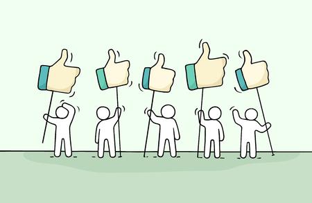 Foule de petits gens qui travaillent avec comme chante. Doodle miniature mignonne sur la communication. Illustration vectorielle de dessin animé dessiné à la main pour les médias sociaux et la conception de sites Web.