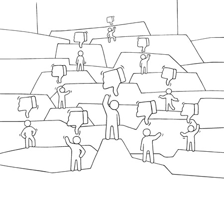 Crowd of little people with dislikes. Doodle cute social scene with negative messages. Hand drawn cartoon vector illustration for internet design and infographic.