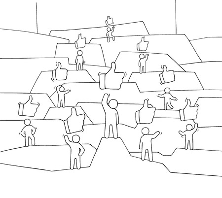 Crowd of working little people with like sings. Doodle cute miniature about communication. Hand drawn cartoon vector illustration for social media and web design. Banque d'images - 110488332