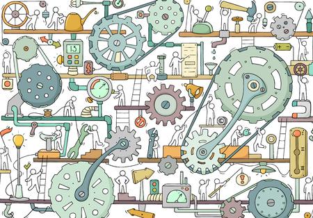 Skizze der Teamarbeit der Menschen, Zahnräder, Produktion. Doodle-Cartoon-Mechanismus mit Maschinen und Zahnrädern. Handgezeichnete Vektorillustration für Geschäfts- und Industriedesign.