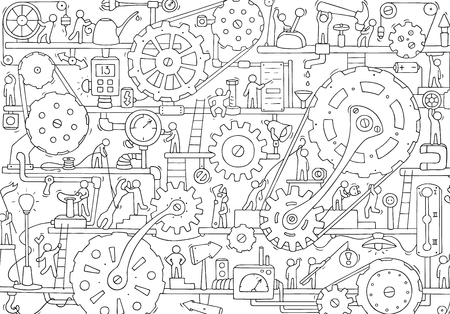 Sketch of people teamwork, gears, production. Doodle cartoon mechanism with machinery and cogwheels. Hand drawn vector illustration for business and industry design.