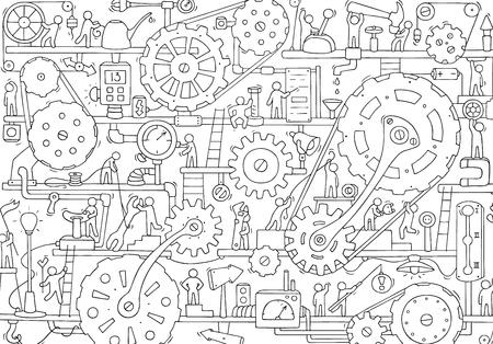 Szkic pracy zespołowej ludzi, kół zębatych, produkcji. Doodle kreskówka mechanizm z maszynami i kołami zębatymi. Ręcznie rysowane ilustracji wektorowych do projektowania biznesu i przemysłu.