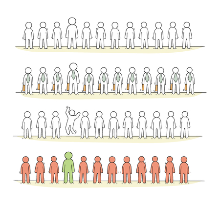 Cartoon working  little people stand in a row. Doodle cute miniature scene of workers about partnership. Hand drawn vector illustration for business design. Illustration