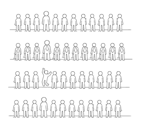 Cartoon working  little people stand in a row. Doodle cute miniature scene of workers about partnership. Hand drawn vector illustration for business design.  イラスト・ベクター素材