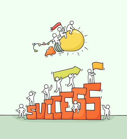 Dibujo de gente pequeña con idea de lámpara voladora. Doodle linda escena en miniatura con gran palabra éxito. Ilustración de vector de dibujos animados dibujados a mano para inicio y diseño de negocios.