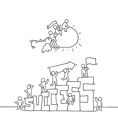 Sketch of little people with flying lamp idea. Doodle cute miniature scene with big word Success. Hand drawn cartoon vector illustration for startup and business design.  イラスト・ベクター素材