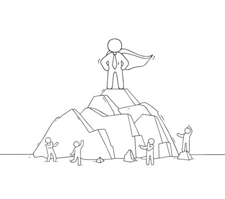 Sketch of man on mountain top. Doodle cute scene about leadership. Hand drawn cartoon vector illustration for business design.