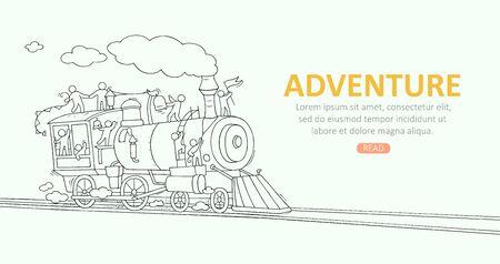 Fond de croquis avec de petites personnes dans le train. Doodle scène miniature mignonne sur le transport. Illustration vectorielle de dessin animé dessinés à la main pour la conception de vacances.