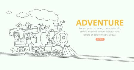 Sketch background with little people on train. Doodle cute miniature scene about transportation. Hand drawn cartoon vector illustration for vacation design.