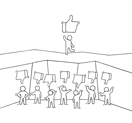 Sketch of little people with like and dislike signs. Doodle cute miniature scene of workers. Hand drawn cartoon vector illustration for business and web design. Archivio Fotografico - 126930833