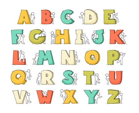 Cartoon Icons Set Skizze kleine Leute mit Buchstaben. Kritzeln Sie süße Arbeiter mit Alfabet. Handgezeichnete Vektorillustration für Bildungsdesign.