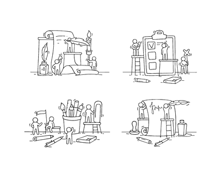 Office objects set with working little people. Doodle cute miniature scenes of workers with stationery. Hand drawn cartoon vector illustration for business and school design. Illustration
