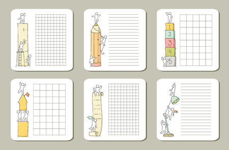 Collection of cute notes for cards, stickers, tags with people. Template for wrapping, notebooks, diary, school accessories. Doodle hand-drawn vector illustration with stationery for kids.