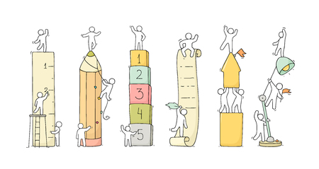 Office supplies set with working little people. Doodle cute miniature scenes of workers with stationery. Hand drawn cartoon vector illustration for business and school design.